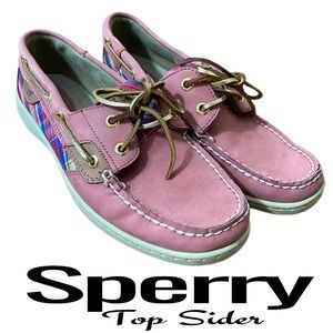 Sperry Top-Sider Pink Plaid Boat Shoes Size 8